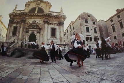 Vela Luka dancing in front of St. Basil's